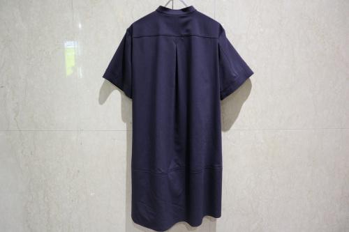 ジルサンダーネイビーのAラインバンドカラードレス