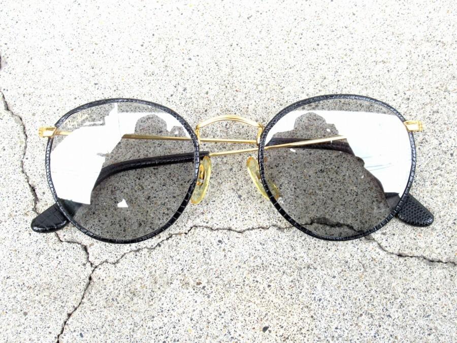 レザーパイピングサングラスのボシュロム製 レザーコレクション