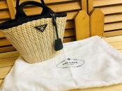 PRADA ウィッカー&キャンバス バスケットバッグ 入荷致しました。