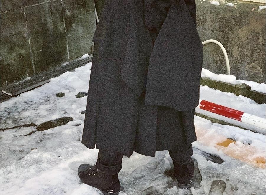 ヨウジヤマモトプールオムのギャバウールラップスカート